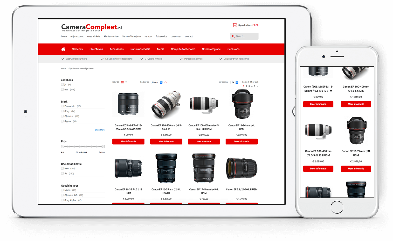 Cameracompleet mobiele responsive